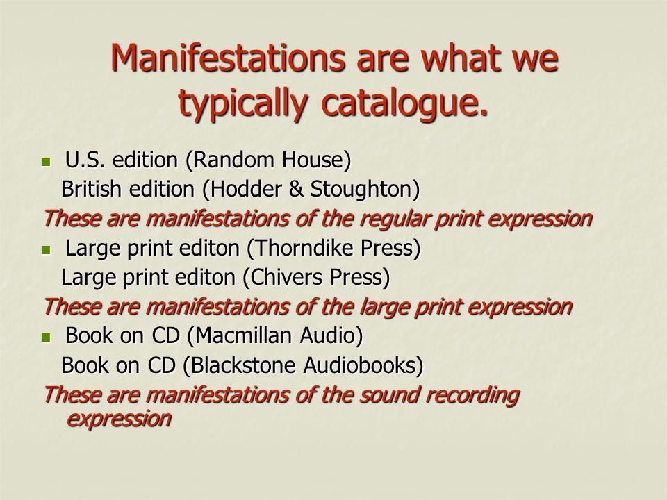 Manifestations are what we typically catalogue. U.S. edition (Random House) U.S. edition (Random House) British edition (Hodder & Stoughton) British e