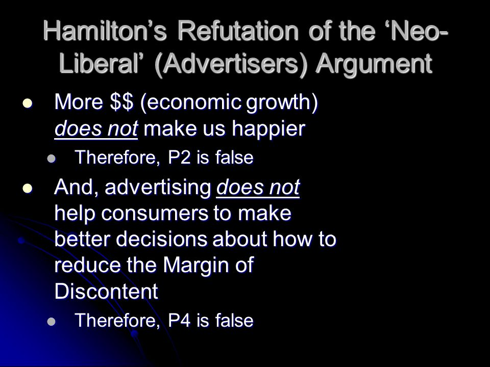 Hamiltons Refutation of the Neo- Liberal (Advertisers) Argument More $$ (economic growth) does not make us happier More $$ (economic growth) does not