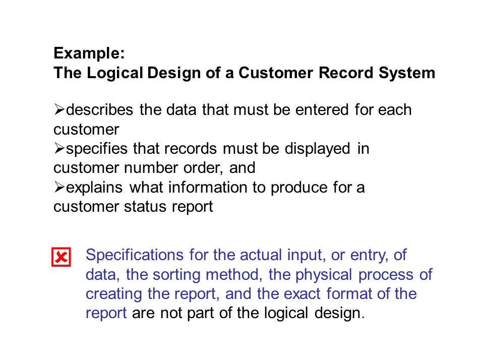 Example: The Logical Design of a Customer Record System describes the data that must be entered for each customer specifies that records must be displayed in customer number order, and explains what information to produce for a customer status report Specifications for the actual input, or entry, of data, the sorting method, the physical process of creating the report, and the exact format of the report are not part of the logical design.