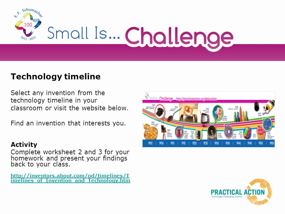 Technology timeline Select any invention from the technology timeline in your classroom or visit the website below.