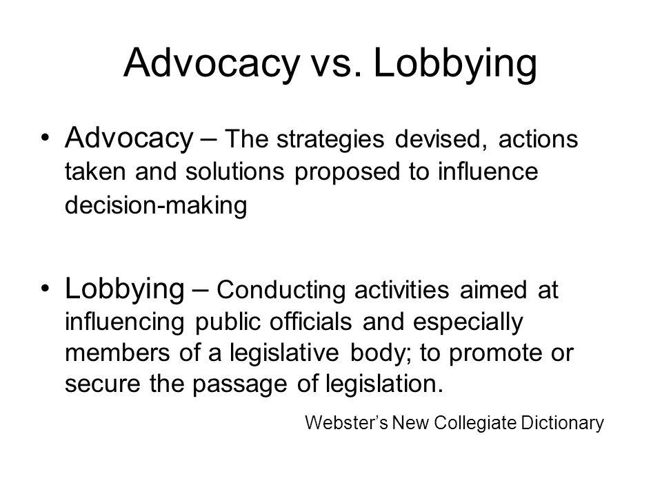 Advocacy vs.
