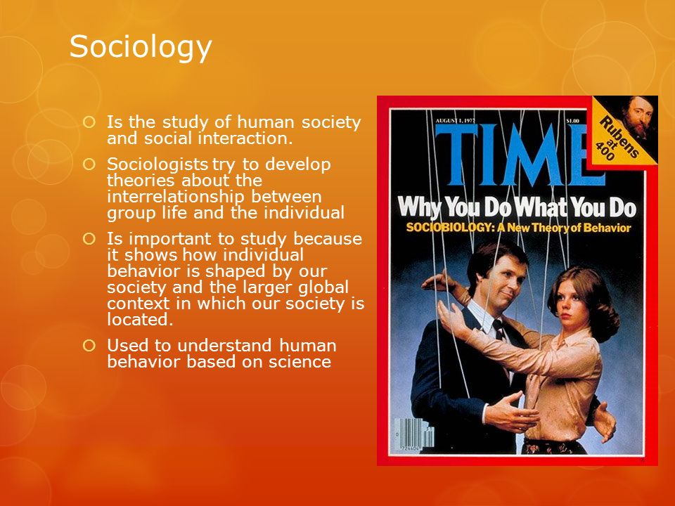 Sociology Is the study of human society and social interaction. Sociologists try to develop theories about the interrelationship between group life an