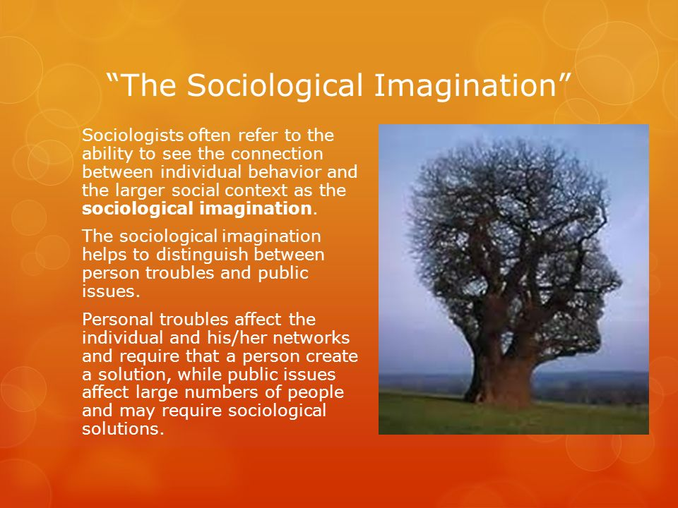 The Sociological Imagination Sociologists often refer to the ability to see the connection between individual behavior and the larger social context a