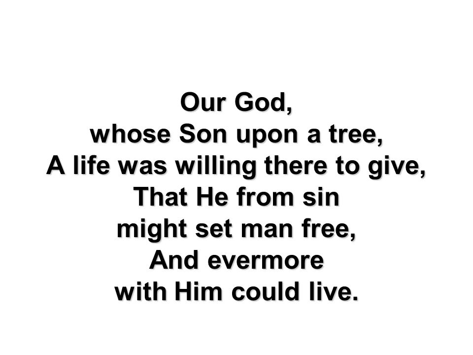 Our God, whose Son upon a tree, A life was willing there to give, That He from sin might set man free, And evermore with Him could live.