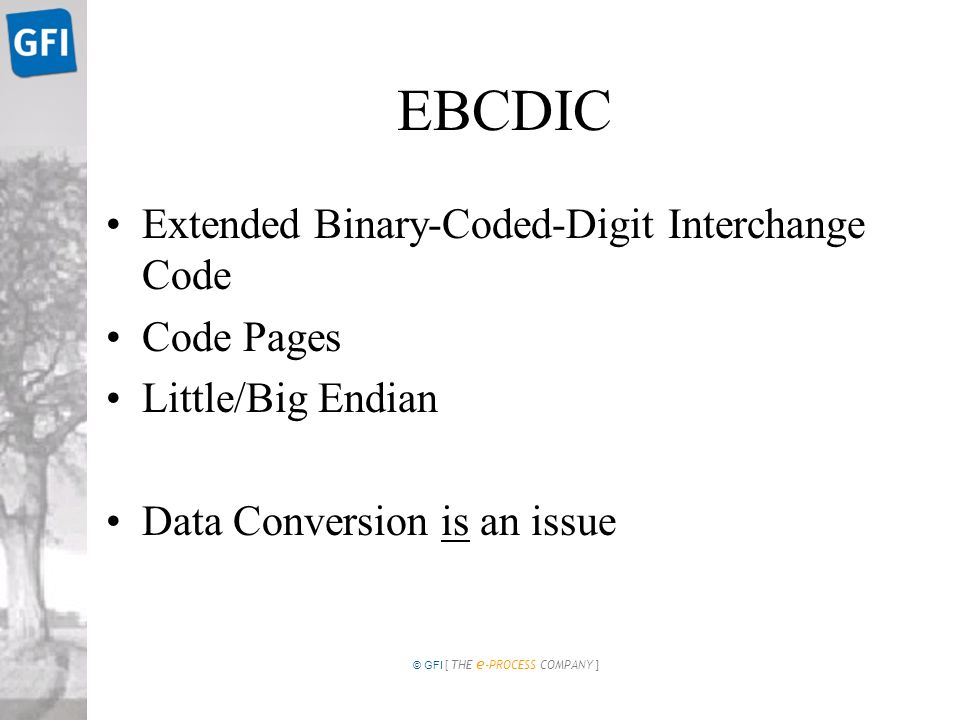 © GFI [ THE e -PROCESS COMPANY ] EBCDIC Extended Binary-Coded-Digit Interchange Code Code Pages Little/Big Endian Data Conversion is an issue
