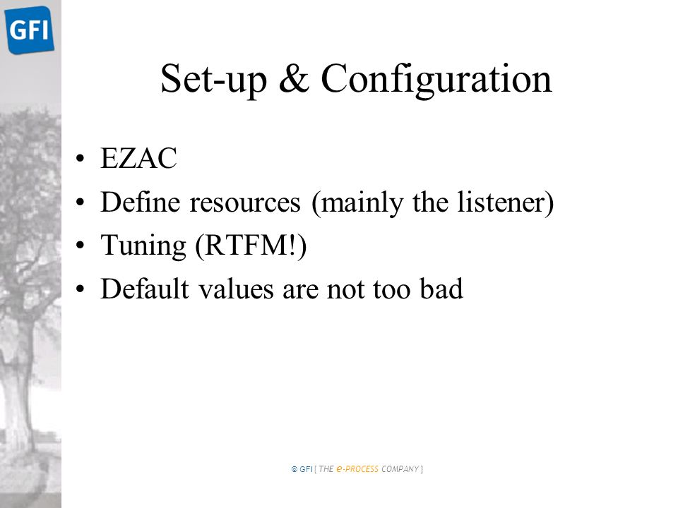 © GFI [ THE e -PROCESS COMPANY ] Set-up & Configuration EZAC Define resources (mainly the listener) Tuning (RTFM!) Default values are not too bad
