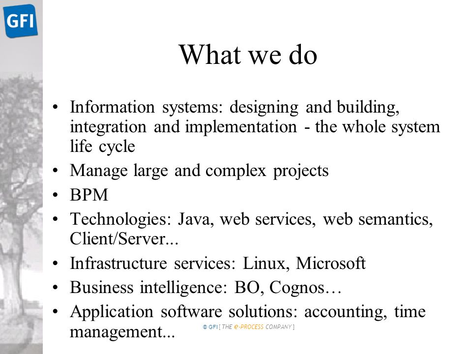 © GFI [ THE e -PROCESS COMPANY ] What we do Information systems: designing and building, integration and implementation - the whole system life cycle Manage large and complex projects BPM Technologies: Java, web services, web semantics, Client/Server...