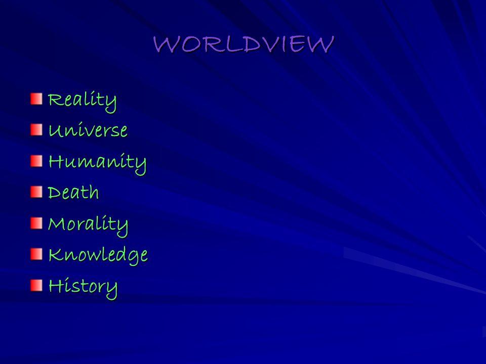 WORLDVIEW RealityUniverseHumanityDeathMoralityKnowledgeHistory