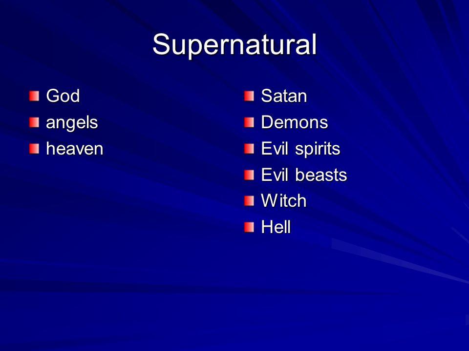 Supernatural GodangelsheavenSatanDemons Evil spirits Evil beasts WitchHell