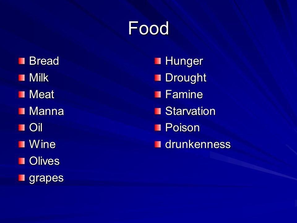 Food BreadMilkMeatMannaOilWineOlivesgrapesHungerDroughtFamineStarvationPoisondrunkenness