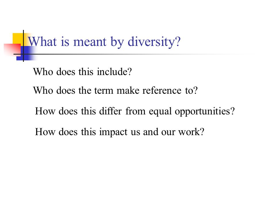 What is meant by diversity. Who does this include.