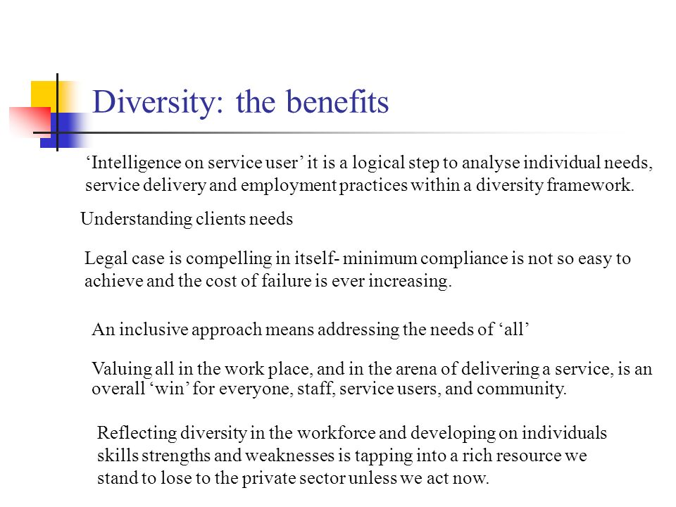 Diversity: the benefits Intelligence on service user it is a logical step to analyse individual needs, service delivery and employment practices within a diversity framework.