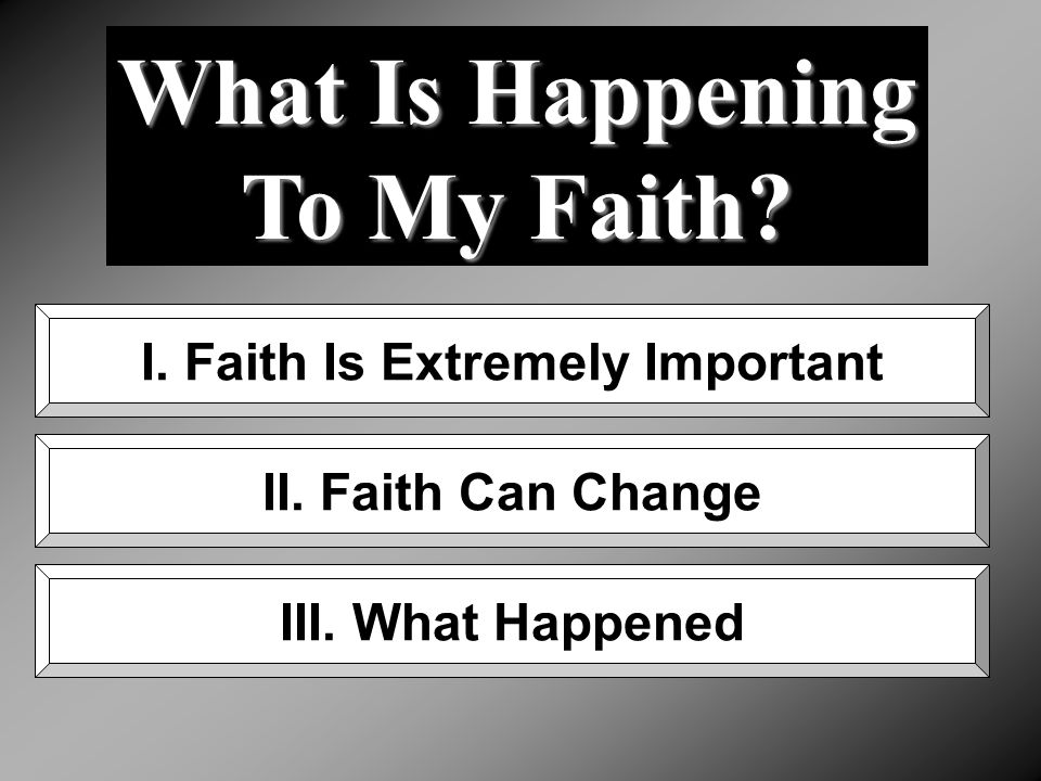 What Is Happening To My Faith. I. Faith Is Extremely Important II.
