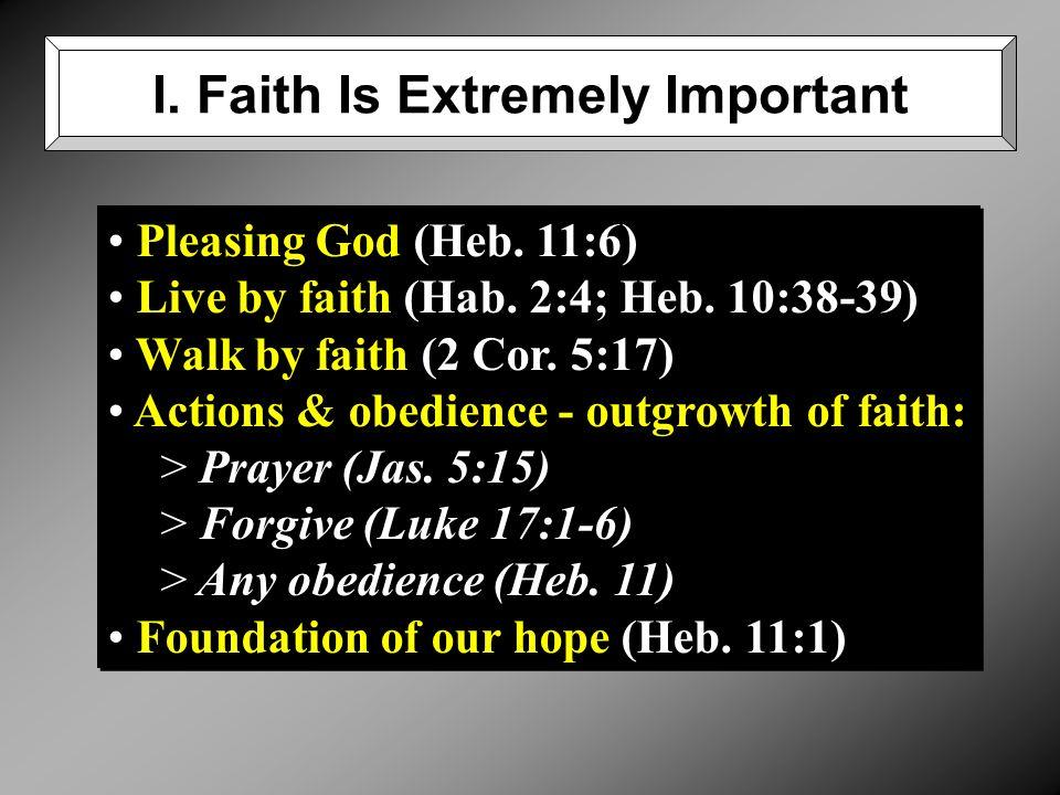Pleasing God (Heb. 11:6) Live by faith (Hab. 2:4; Heb.