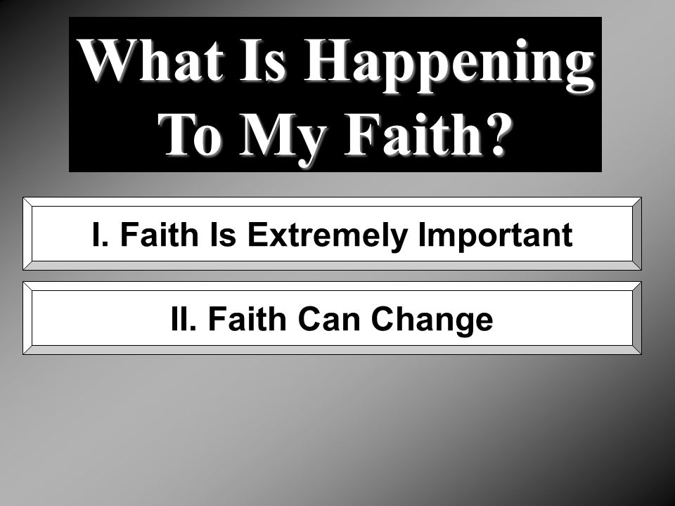 What Is Happening To My Faith? I. Faith Is Extremely Important II. Faith Can Change