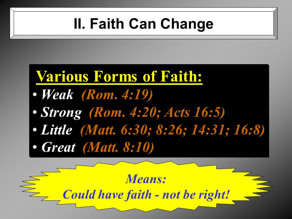 Various Forms of Faith: Weak (Rom. 4:19) Strong (Rom.