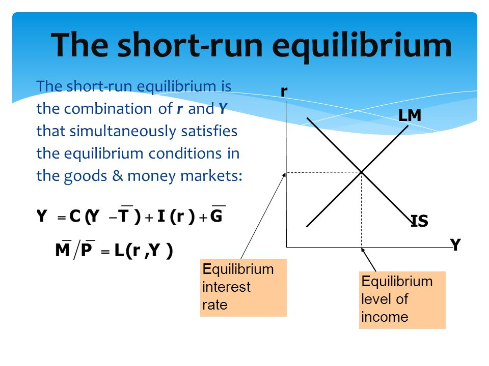 The short-run equilibrium is the combination of r and Y that simultaneously satisfies the equilibrium conditions in the goods & money markets: The sho