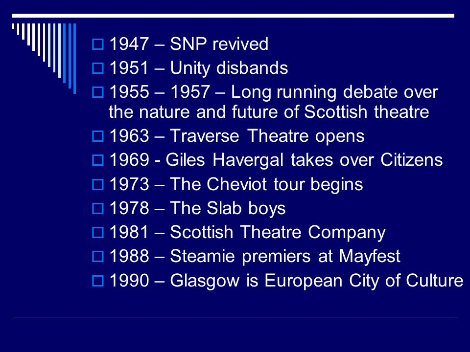 1947 – SNP revived 1951 – Unity disbands 1955 – 1957 – Long running debate over the nature and future of Scottish theatre 1963 – Traverse Theatre open