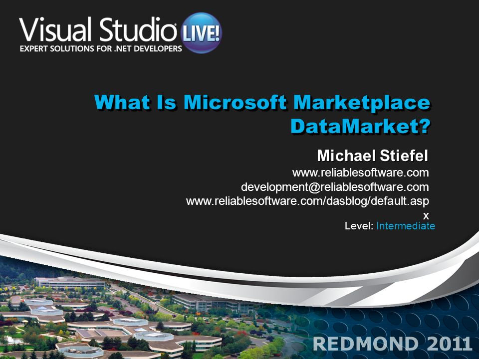 What Is Microsoft Marketplace DataMarket What Is Microsoft Marketplace DataMarket? Michael Stiefel www.reliablesoftware.com development@reliablesoftwa
