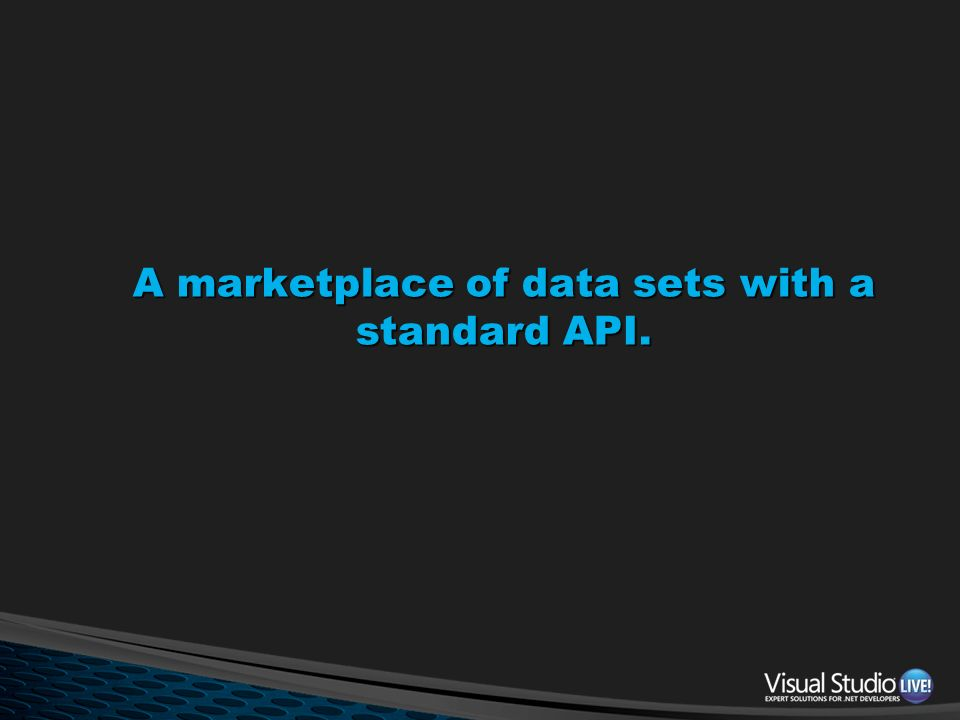 A marketplace of data sets with a standard API.