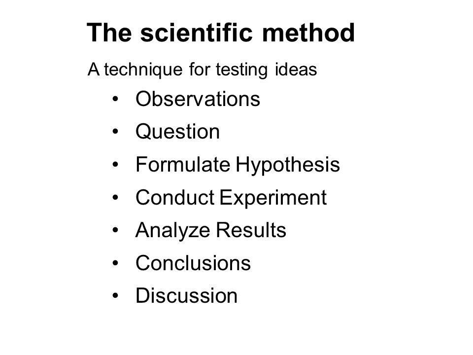 The scientific method Observations Question Formulate Hypothesis Conduct Experiment Analyze Results Conclusions Discussion A technique for testing ide