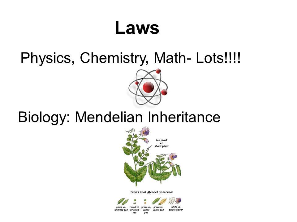 Laws Biology: Mendelian Inheritance Physics, Chemistry, Math- Lots!!!!