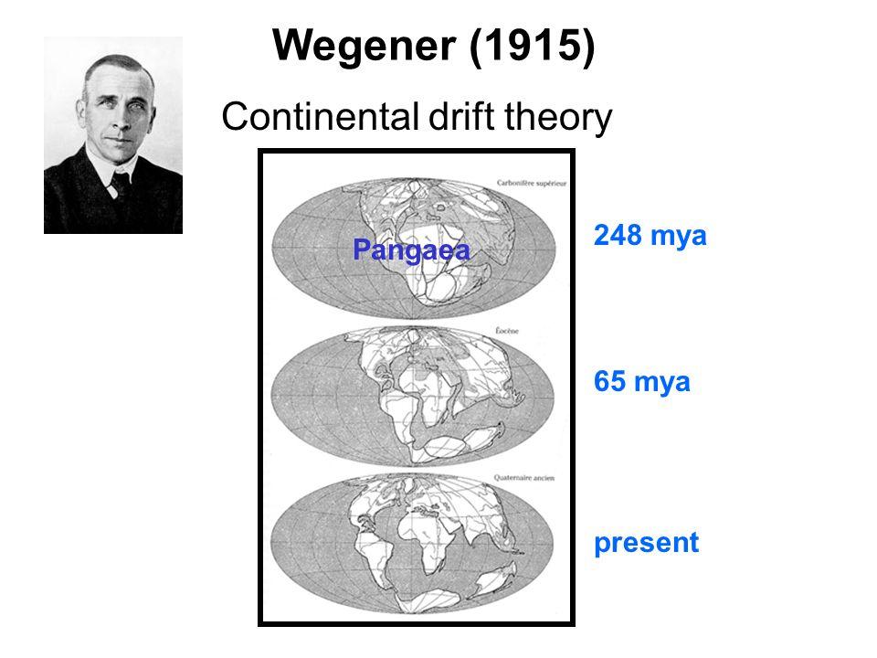 248 mya 65 mya present Pangaea Continental drift theory Wegener (1915)