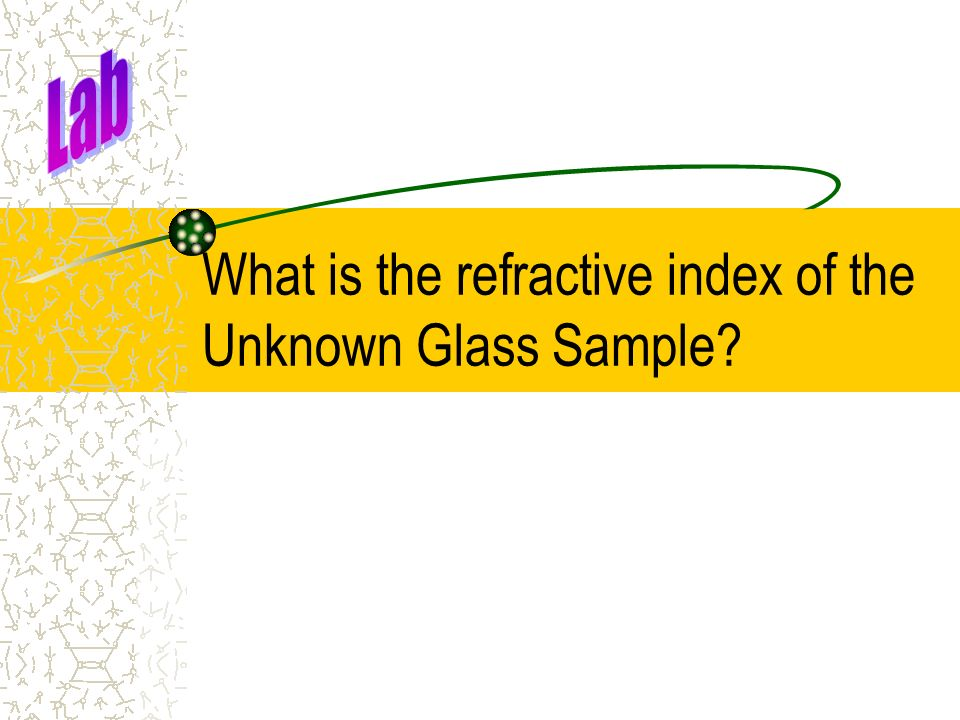 What is the refractive index of the Unknown Glass Sample?