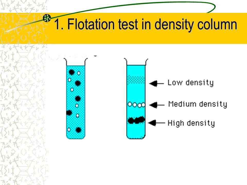 1. Flotation test in density column 1. Flotation test in density column