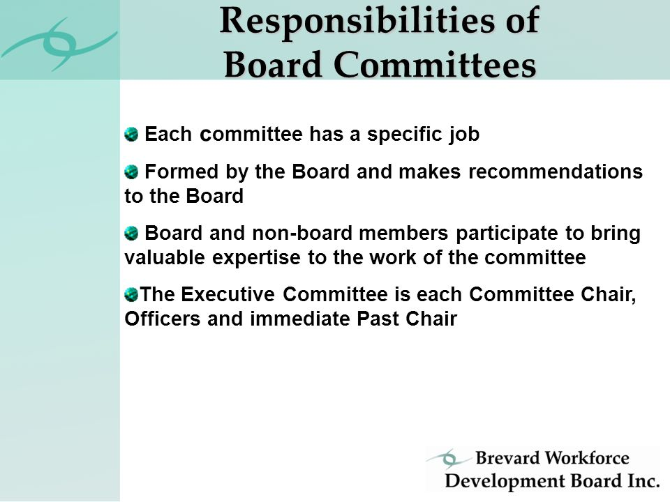 Each c ommittee has a specific job Formed by the Board and makes recommendations to the Board Board and non-board members participate to bring valuable expertise to the work of the committee The Executive Committee is each Committee Chair, Officers and immediate Past Chair Responsibilities of Board Committees