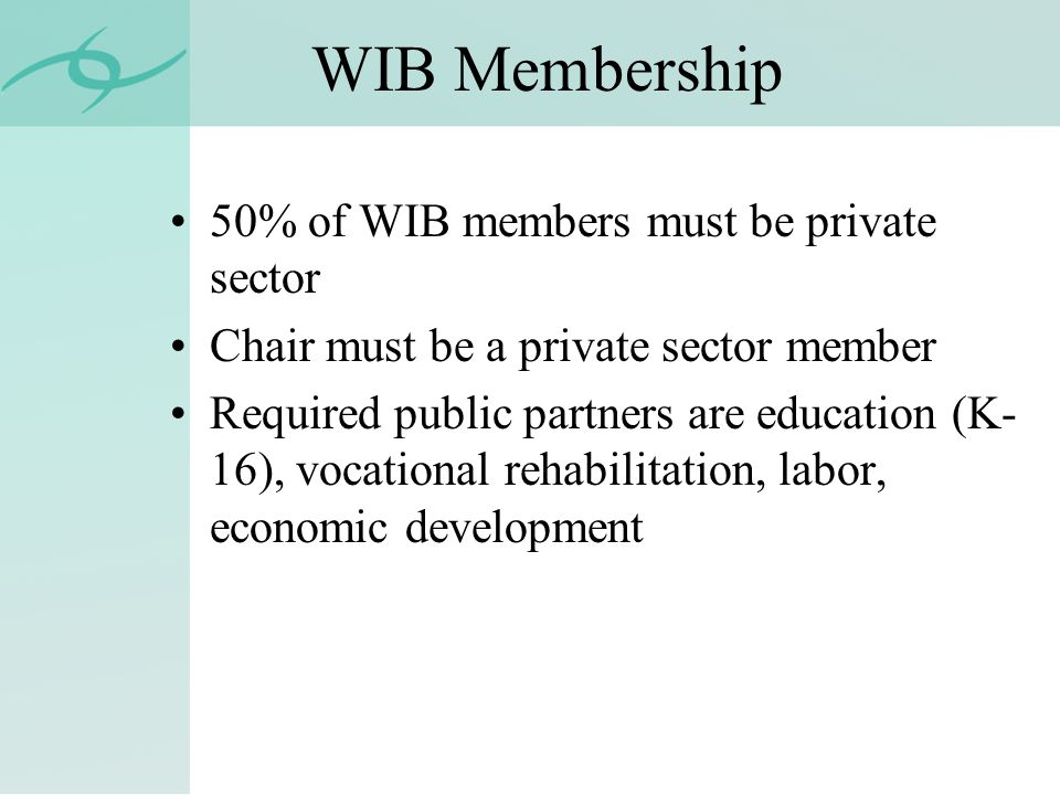 WIB Membership 50% of WIB members must be private sector Chair must be a private sector member Required public partners are education (K- 16), vocational rehabilitation, labor, economic development