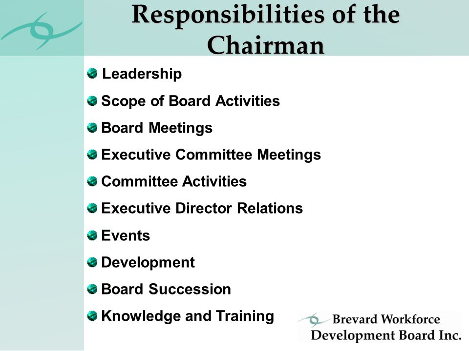 Leadership Scope of Board Activities Board Meetings Executive Committee Meetings Committee Activities Executive Director Relations Events Development Board Succession Knowledge and Training Responsibilities of the Chairman