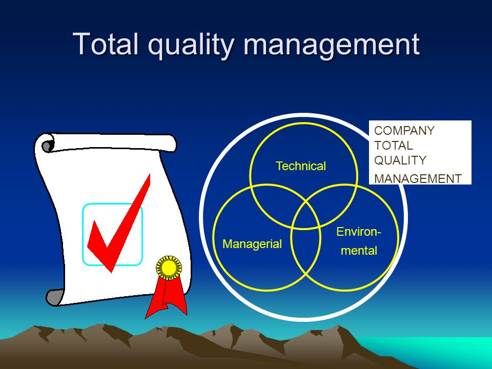 Total quality management Technical Managerial COMPANY TOTAL QUALITY MANAGEMENT Environ- mental