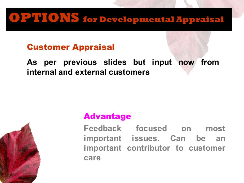 OPTIONS for Developmental Appraisal Customer Appraisal As per previous slides but input now from internal and external customers Advantage Feedback fo