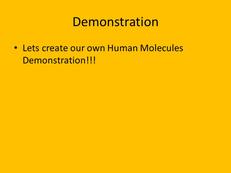 Demonstration Lets create our own Human Molecules Demonstration!!!
