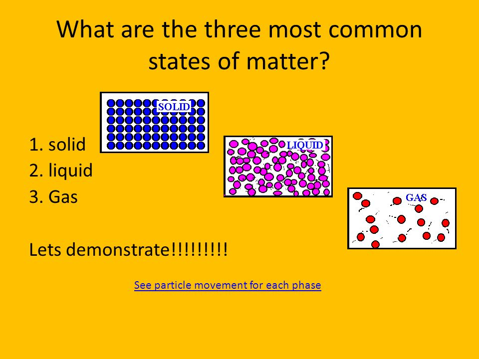 What are the three most common states of matter? 1. solid 2. liquid 3. Gas Lets demonstrate!!!!!!!!! See particle movement for each phase