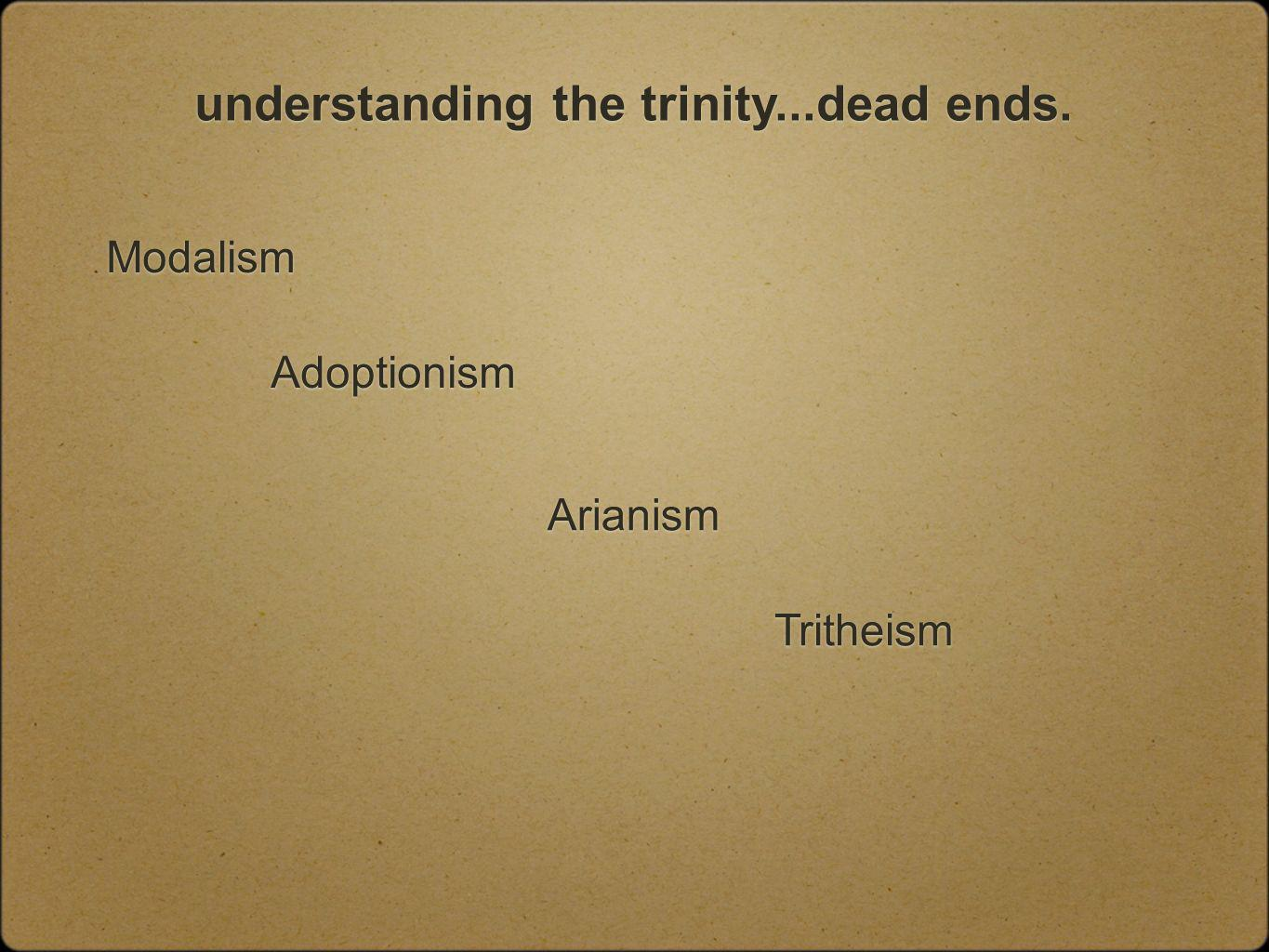 understanding the trinity...dead ends. Modalism Tritheism Adoptionism Arianism