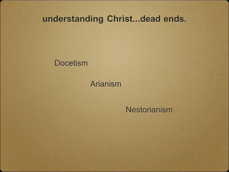understanding Christ...dead ends. Docetism Arianism Nestorianism