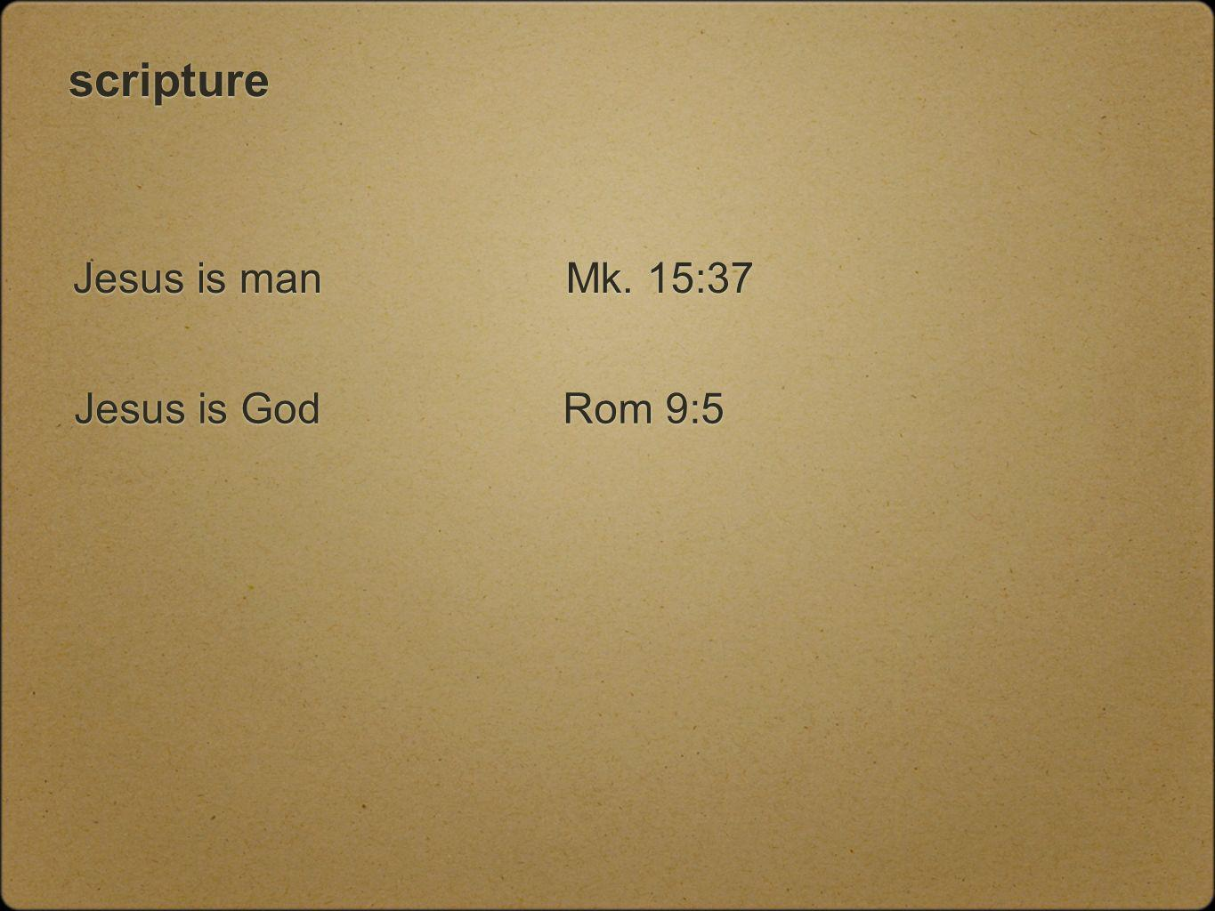 scripture Jesus is man Jesus is God Mk. 15:37 Rom 9:5