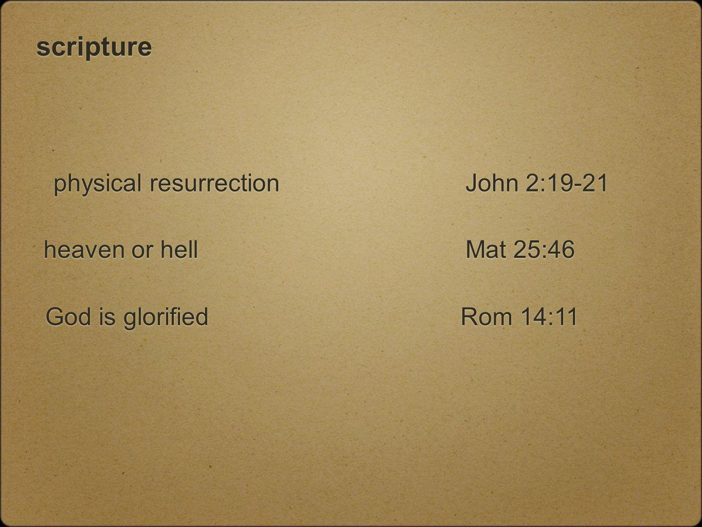 scripture physical resurrection heaven or hell God is glorified John 2:19-21 Rom 14:11 Mat 25:46