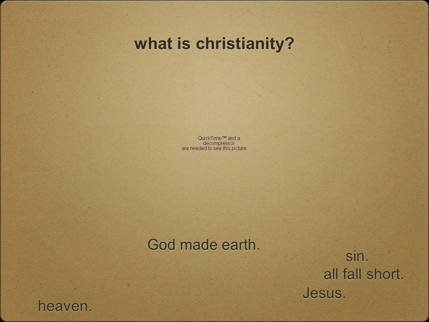 what is christianity God made earth. all fall short. Jesus. sin. heaven.