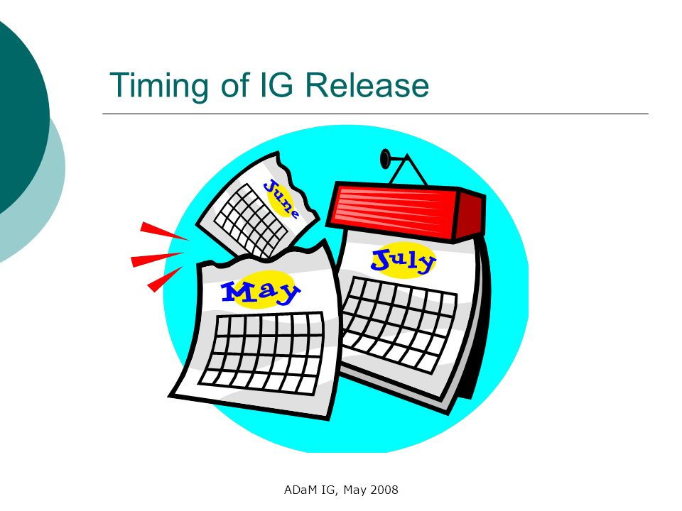 ADaM IG, May 2008 Timing of IG Release