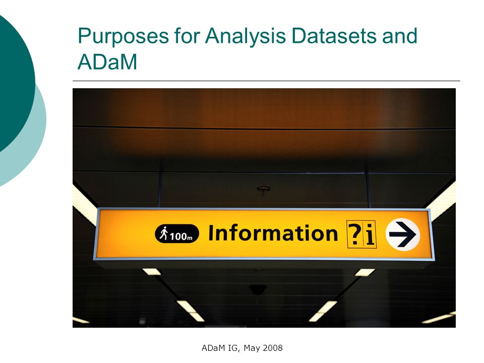 ADaM IG, May 2008 Purposes for Analysis Datasets and ADaM