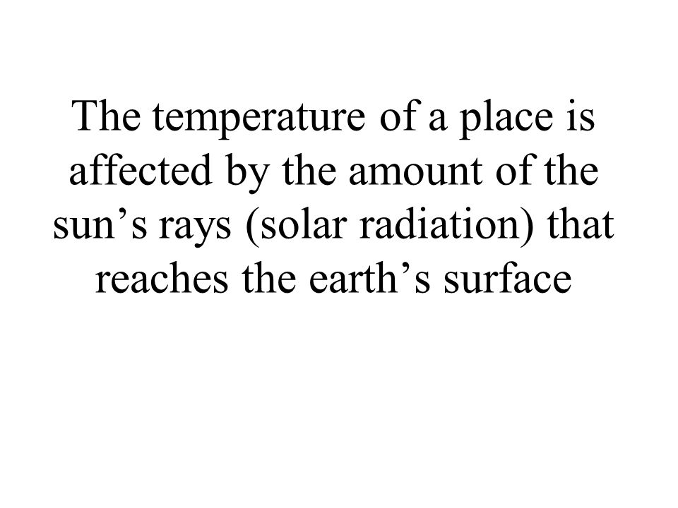 The temperature of a place is affected by the amount of the suns rays (solar radiation) that reaches the earths surface