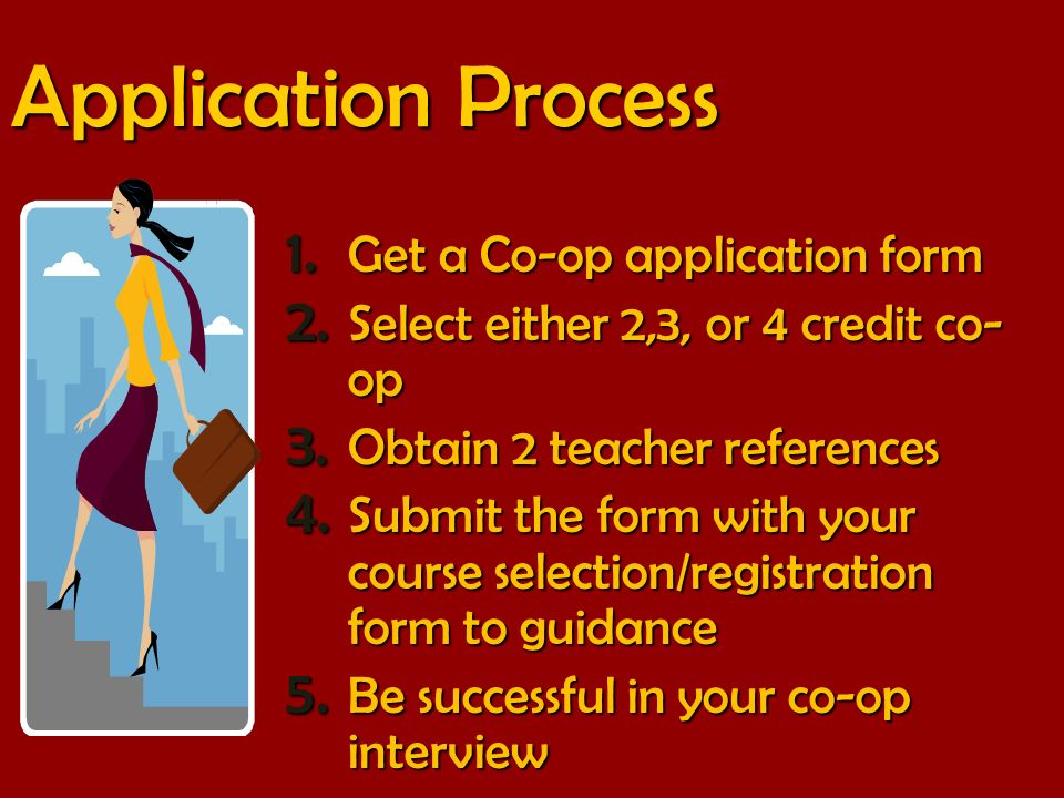 Application Process 1. Get a Co-op application form 2.