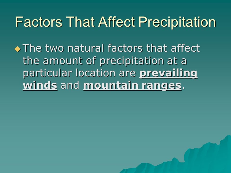 Factors That Affect Precipitation The two natural factors that affect the amount of precipitation at a particular location are prevailing winds and mo