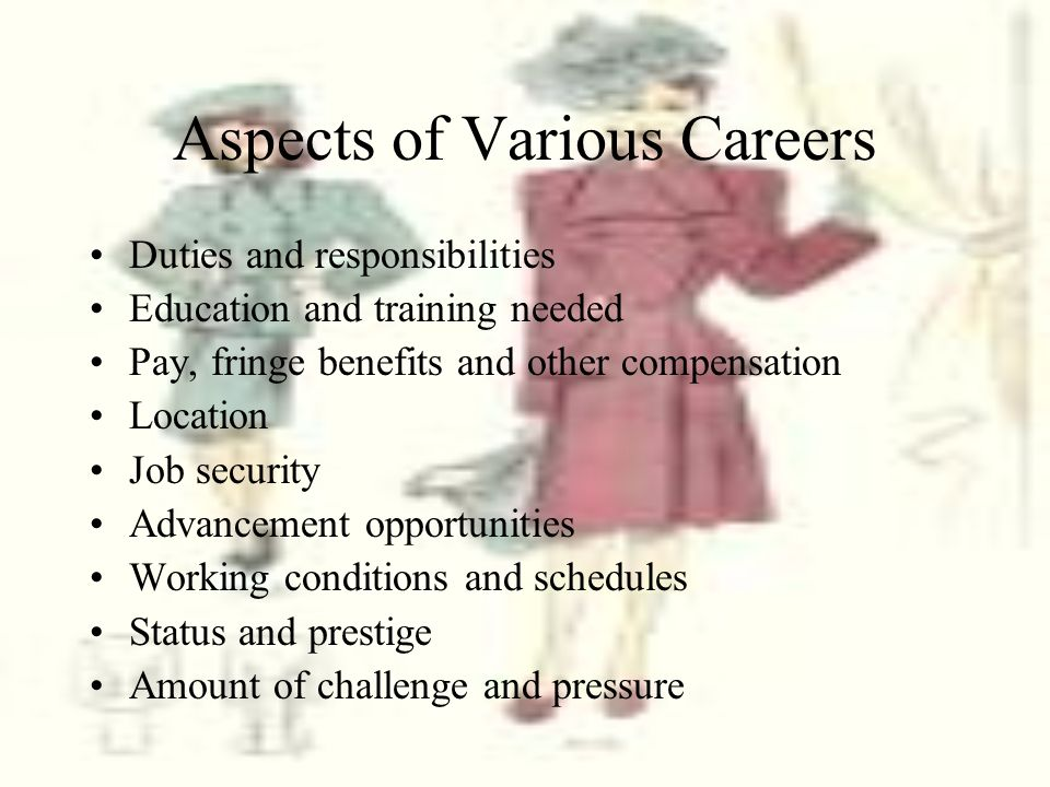 Aspects of Various Careers Duties and responsibilities Education and training needed Pay, fringe benefits and other compensation Location Job security