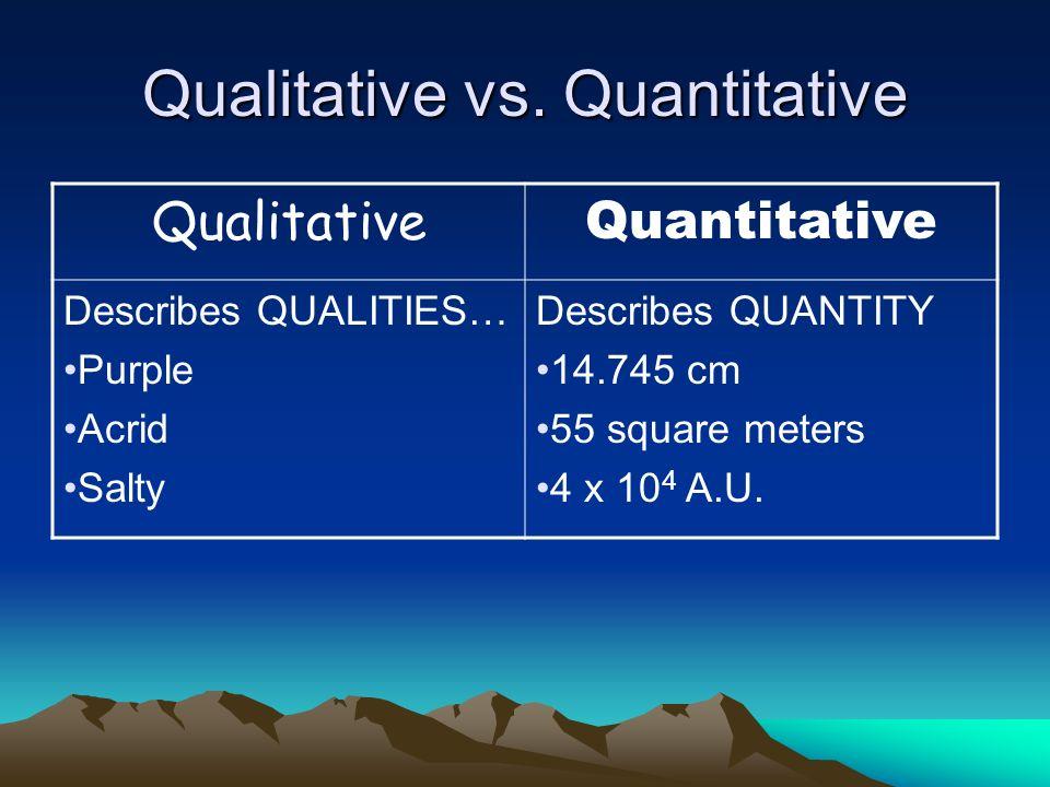 Qualitative vs. Quantitative Qualitative Quantitative Describes QUALITIES… Purple Acrid Salty Describes QUANTITY 14.745 cm 55 square meters 4 x 10 4 A