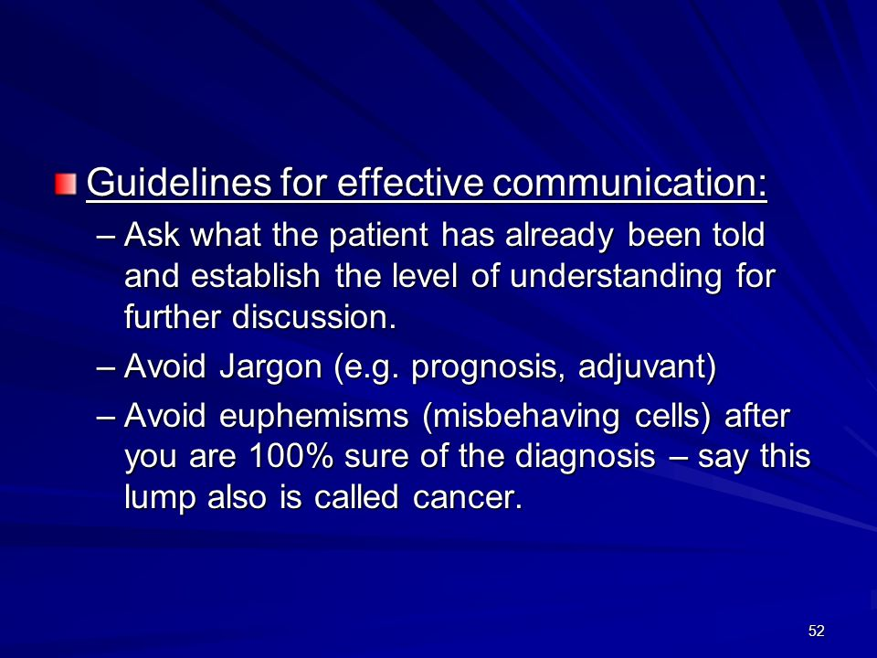 52 Guidelines for effective communication: –Ask what the patient has already been told and establish the level of understanding for further discussion