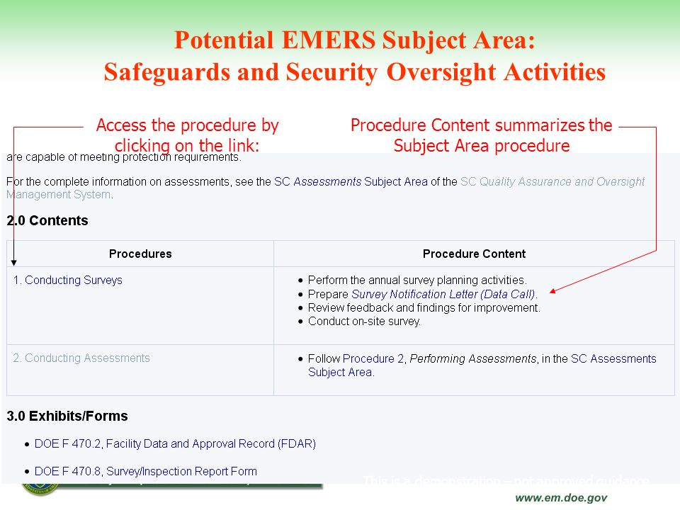 Potential EMERS Subject Area: Safeguards and Security Oversight Activities This is a demonstration – not approved guidance Procedure Content summarize